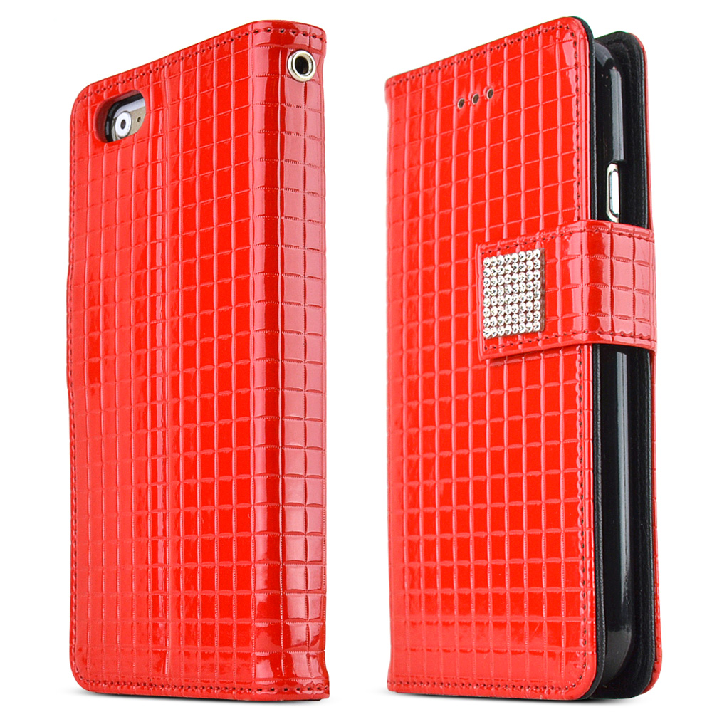 Apple iPhone 6 PLUS/6S PLUS (5.5 inch) Case Cubic Series [Red] Slim & Protective Flip Cover Diary Case w/ ID Slots