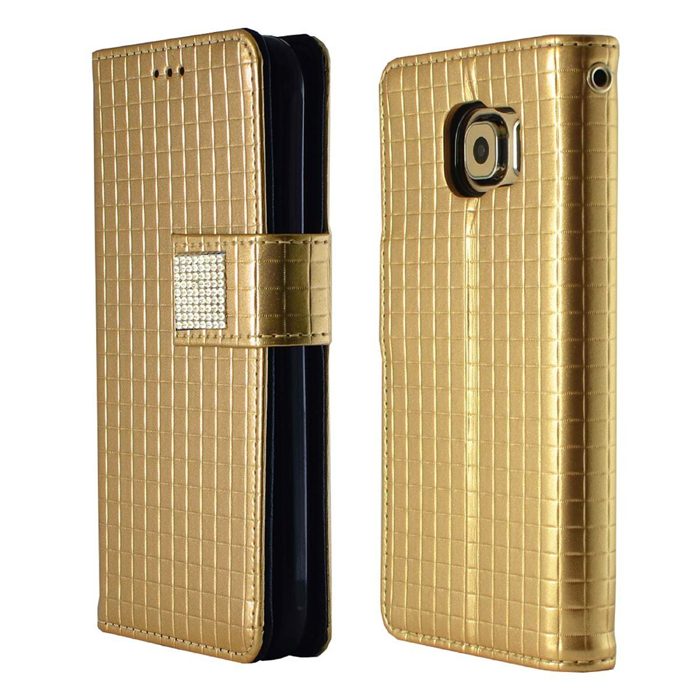 Samsung Galaxy S6 Case,  [Gold] CUBIC Series Kickstand Feature Luxury Faux Saffiano Leather Front Flip Cover with Built-in Card Slots, Magnetic Flap