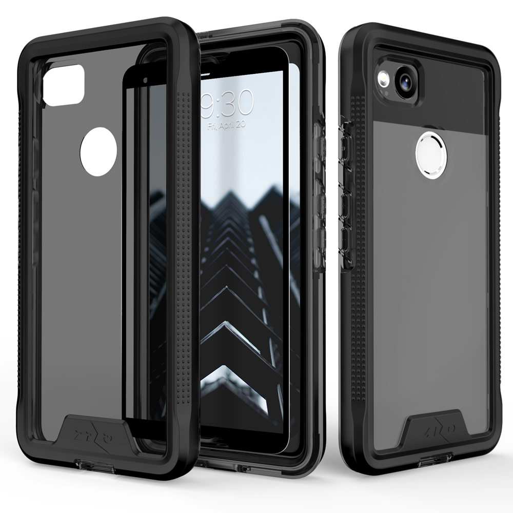 Google Pixel 2 [ION] Case, Triple Layered Shockproof Protection TPU & PC Hybrid Cover w/ Tempered Glass [Black/ Smoke]