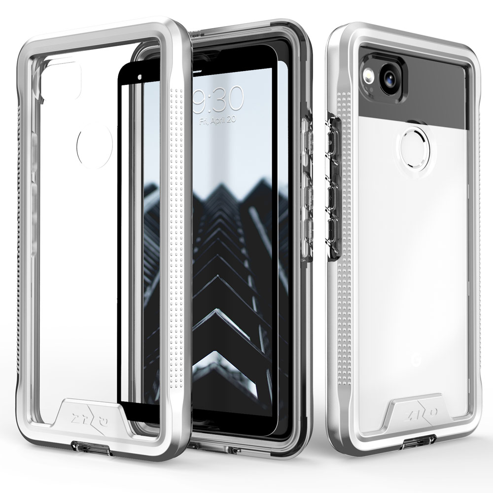 Google Pixel 2 [ION] Case, Triple Layered Shockproof Protection TPU & PC Hybrid Cover w/ Tempered Glass [Silver/ Clear]
