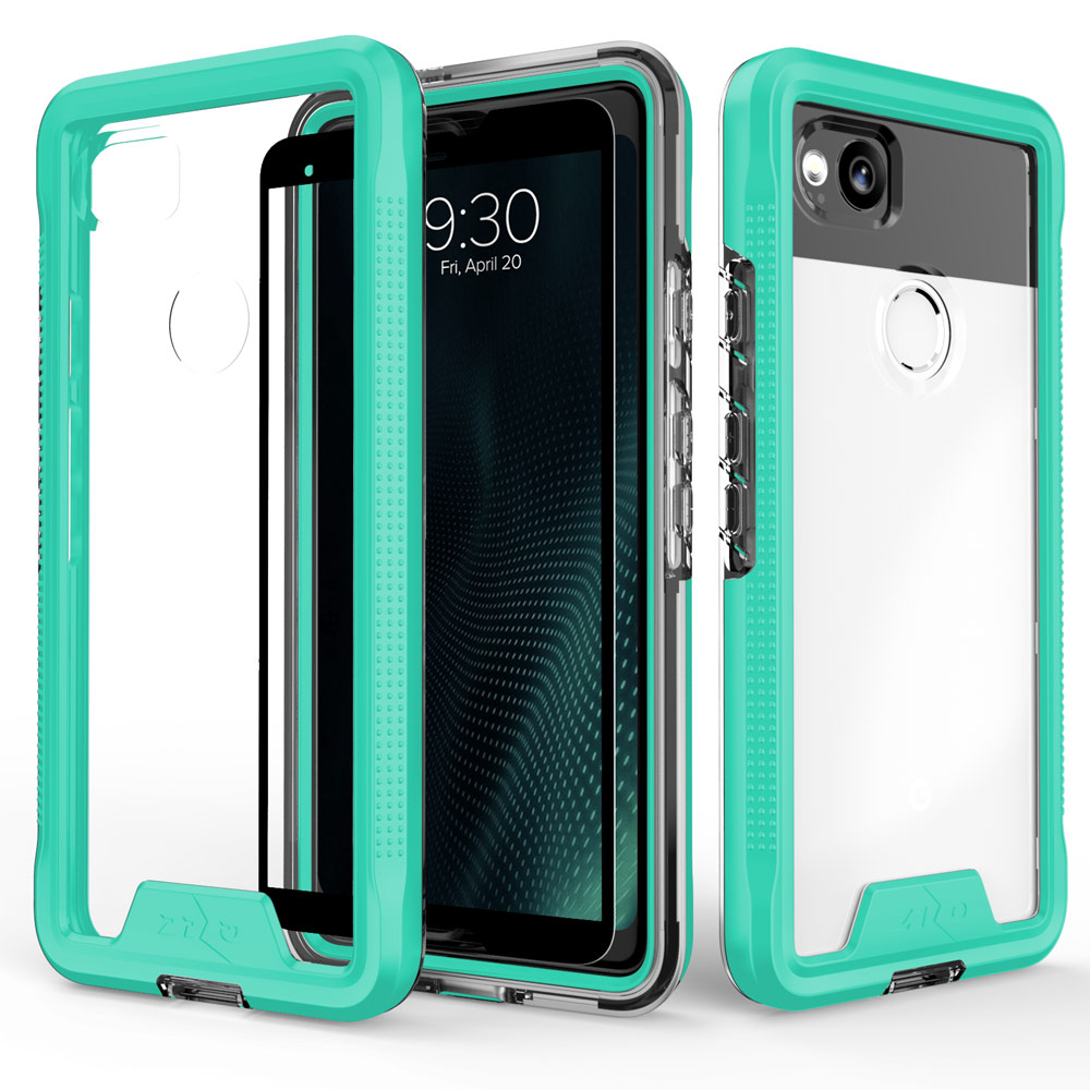Google Pixel 2 [ION] Case, Triple Layered Shockproof Protection TPU & PC Hybrid Cover w/ Tempered Glass [Mint/ Clear]