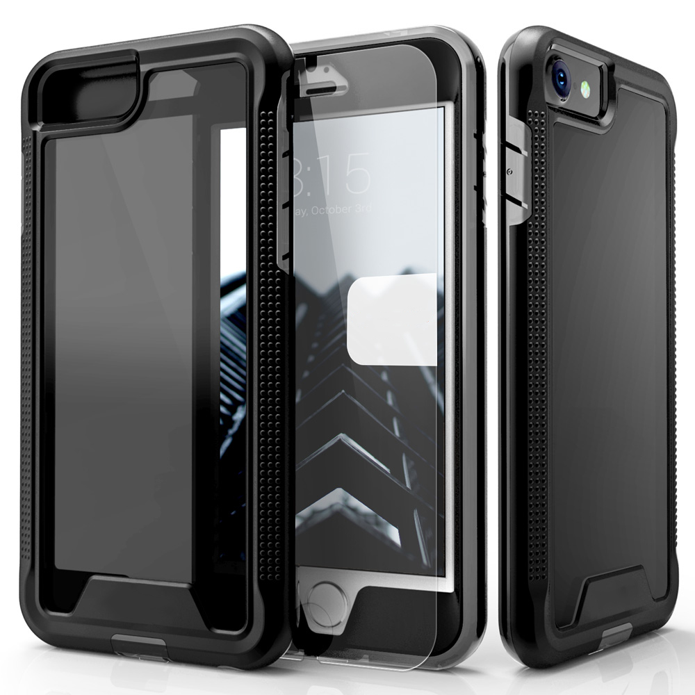 Made for Apple iPhone 7 (4.7 inch) Case, ION Single Layered Shockproof Protection TPU PC Hybrid Cover w/ Tempered Glass [Black/ Smoke]