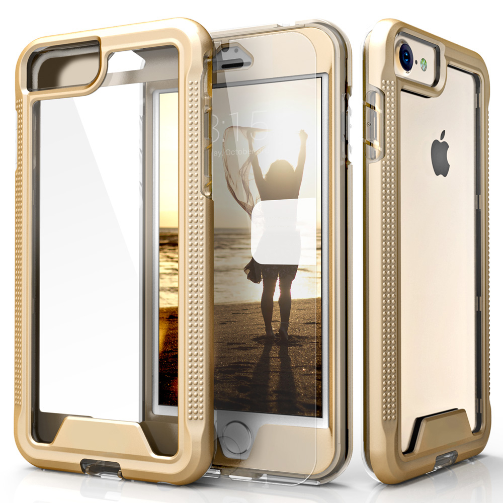 Made for Apple iPhone 8/7/6S/6 Case, ION Single Layered Shockproof Protection TPU PC Hybrid Cover w/ Tempered Glass [Gold/ Clear]