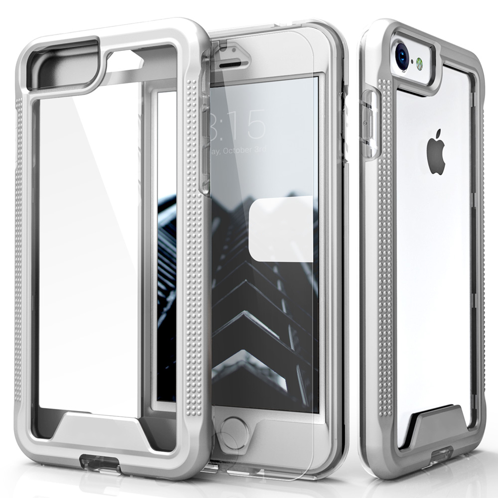 Made for Apple iPhone 8/7/6S/6 Case, ION Single Layered Shockproof Protection TPU PC Hybrid Cover w/ Tempered Glass [Silver/ Clear]