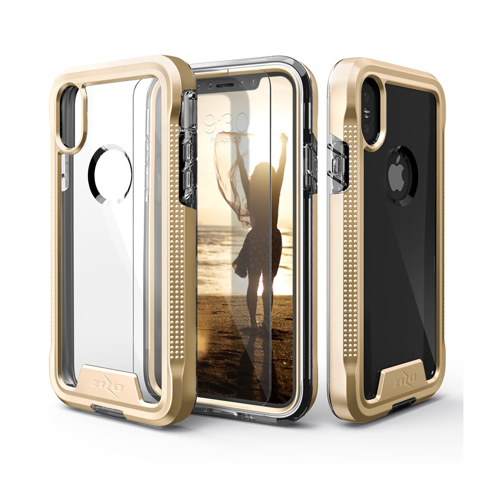 Apple iPhone X Case, ION Triple Layered Shockproof Protection TPU & PC Hybrid Cover w/ Tempered Glass [Gold/ Clear]