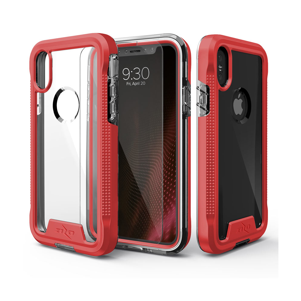 Apple iPhone X Case, ION Triple Layered Shockproof Protection TPU & PC Hybrid Cover w/ Tempered Glass [Red/ Clear]