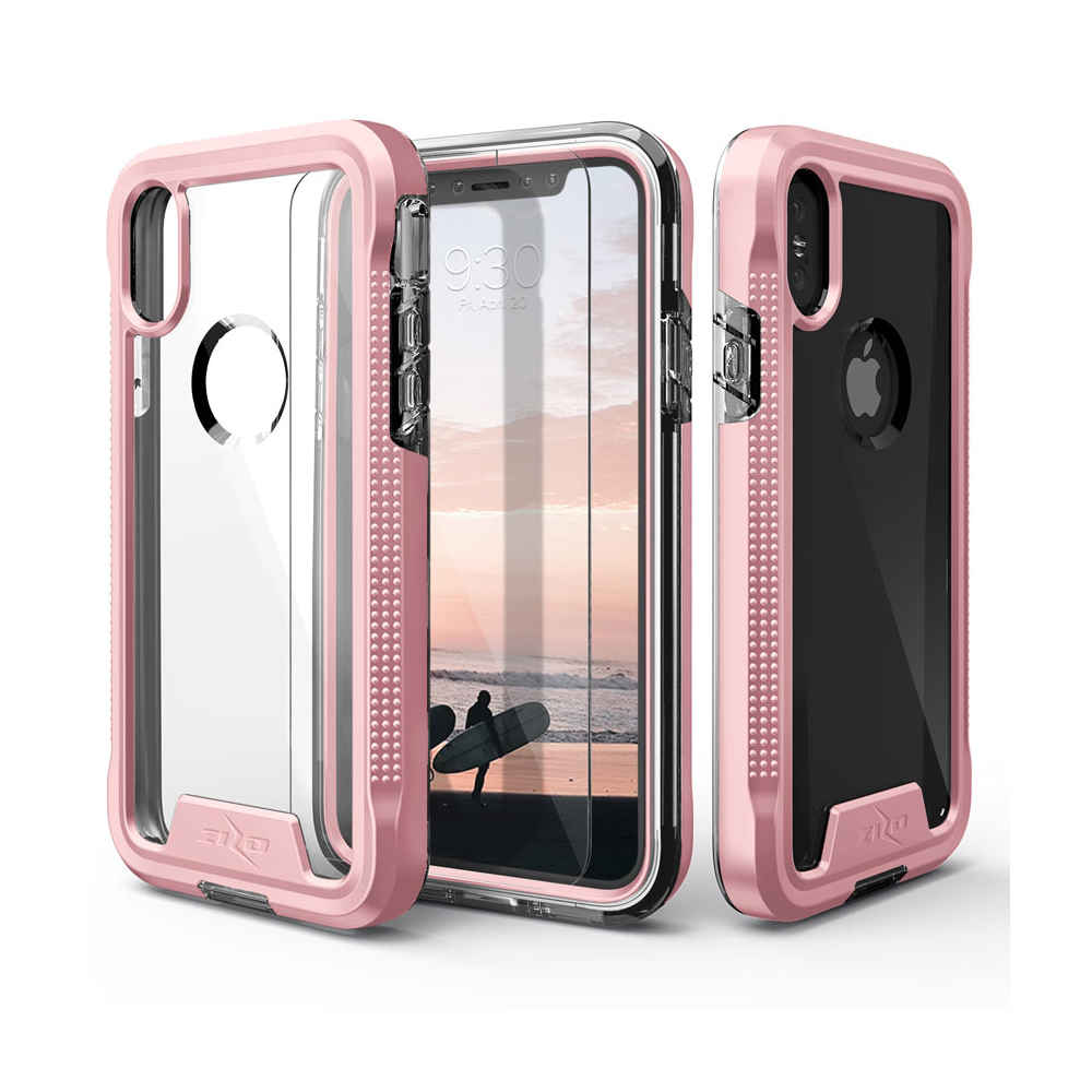 Apple iPhone X Case, ION Triple Layered Shockproof Protection TPU & PC Hybrid Cover w/ Tempered Glass [Rose Gold/ Clear]