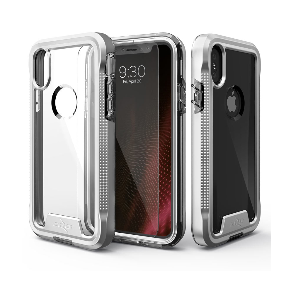 Apple iPhone X Case, ION Triple Layered Shockproof Protection TPU & PC Hybrid Cover w/ Tempered Glass [Silver/ Clear]
