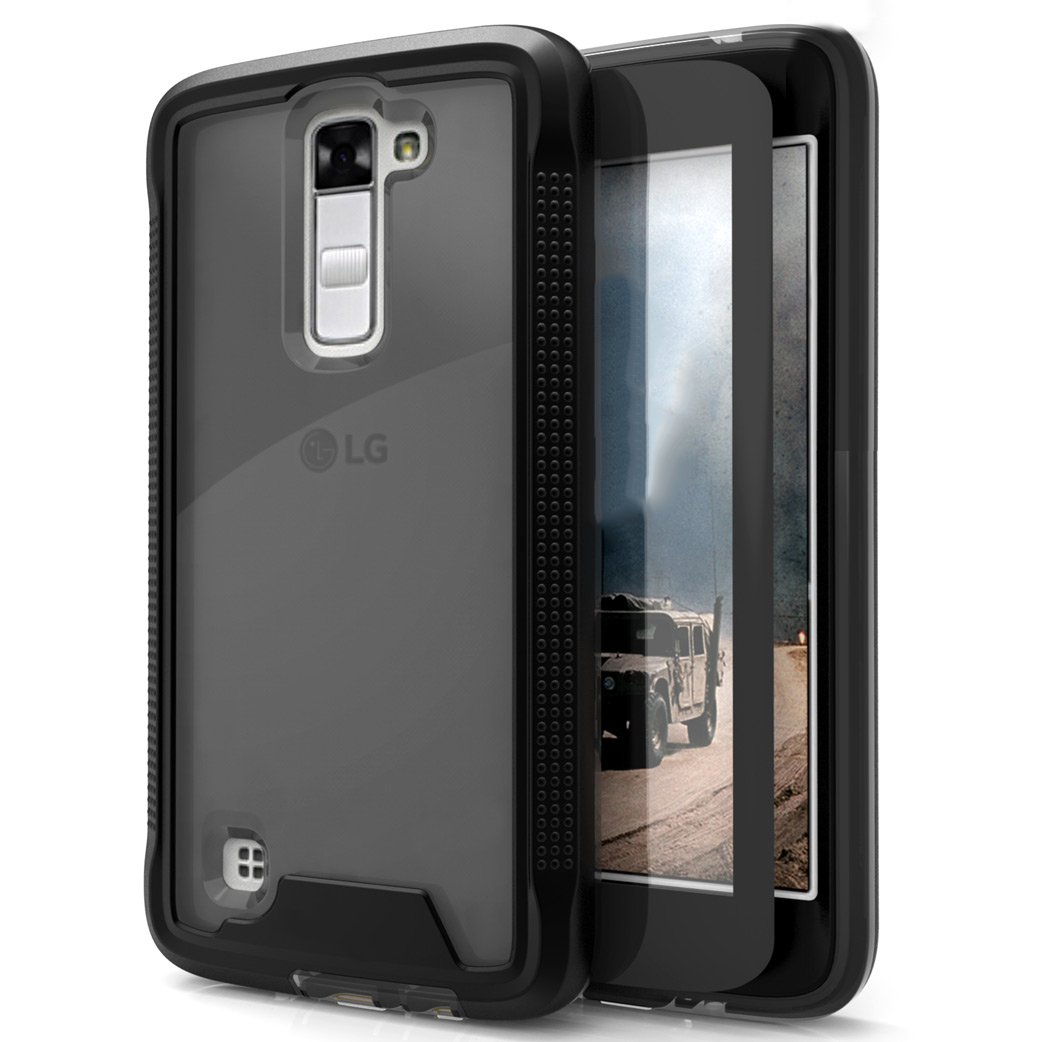 LG K10 Case, ION Single Layered Shockproof Protection TPU & PC Hybrid Cover w/ Tempered Glass [Black/ Smoke]