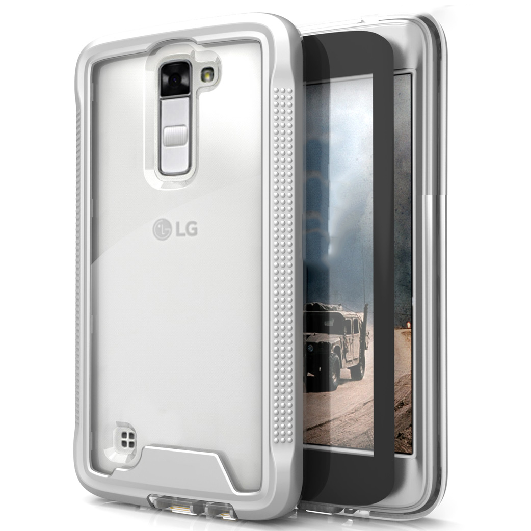 LG K10 Case, ION Single Layered Shockproof Protection TPU & PC Hybrid Cover w/ Tempered Glass [Silver/ Clear]