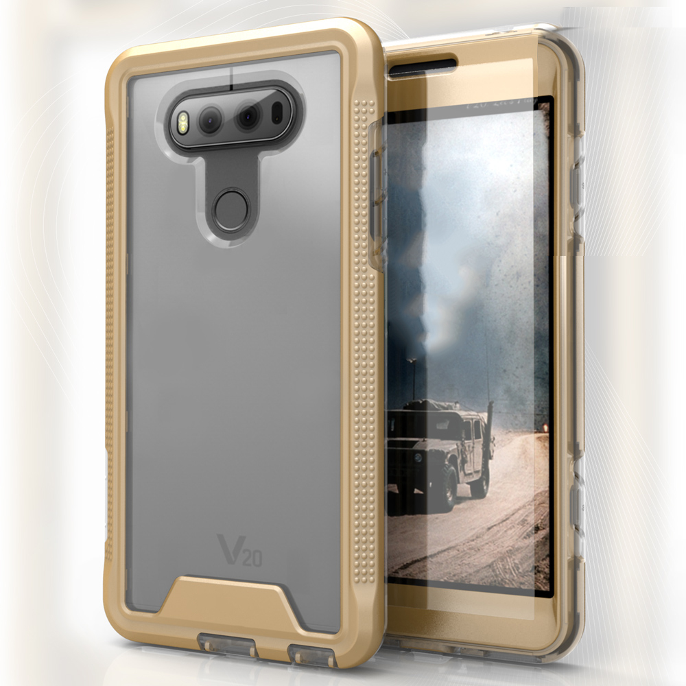 LG V20 Case, ION Single Layered Shockproof Protection TPU & PC Hybrid Cover w/ Tempered Glass [Gold/ Clear]