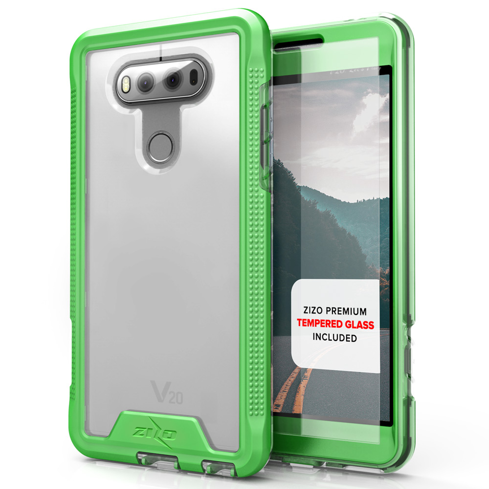 LG V20 Case, ION Single Layered Shockproof Protection TPU & PC Hybrid Cover w/ Tempered Glass [Neon Green/ Clear]