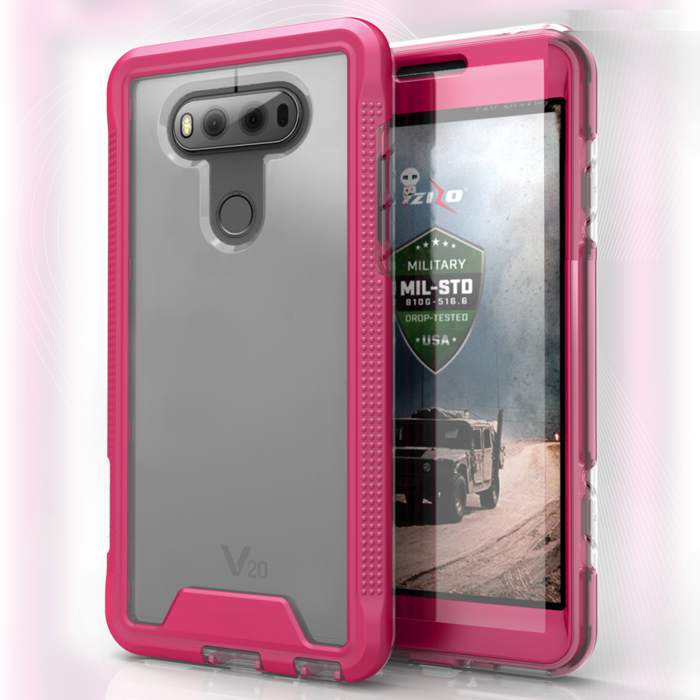 LG V20 Case, ION Single Layered Shockproof Protection TPU & PC Hybrid Cover w/ Tempered Glass [Hot Pink/ Clear]