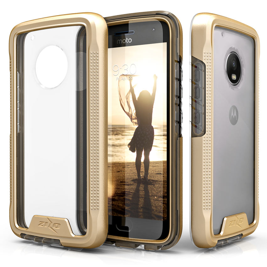 Motorola Moto G5 Plus Case, [ION] Triple Layered Shockproof Protection TPU & PC Hybrid Cover w/ Tempered Glass [Gold/ Clear]