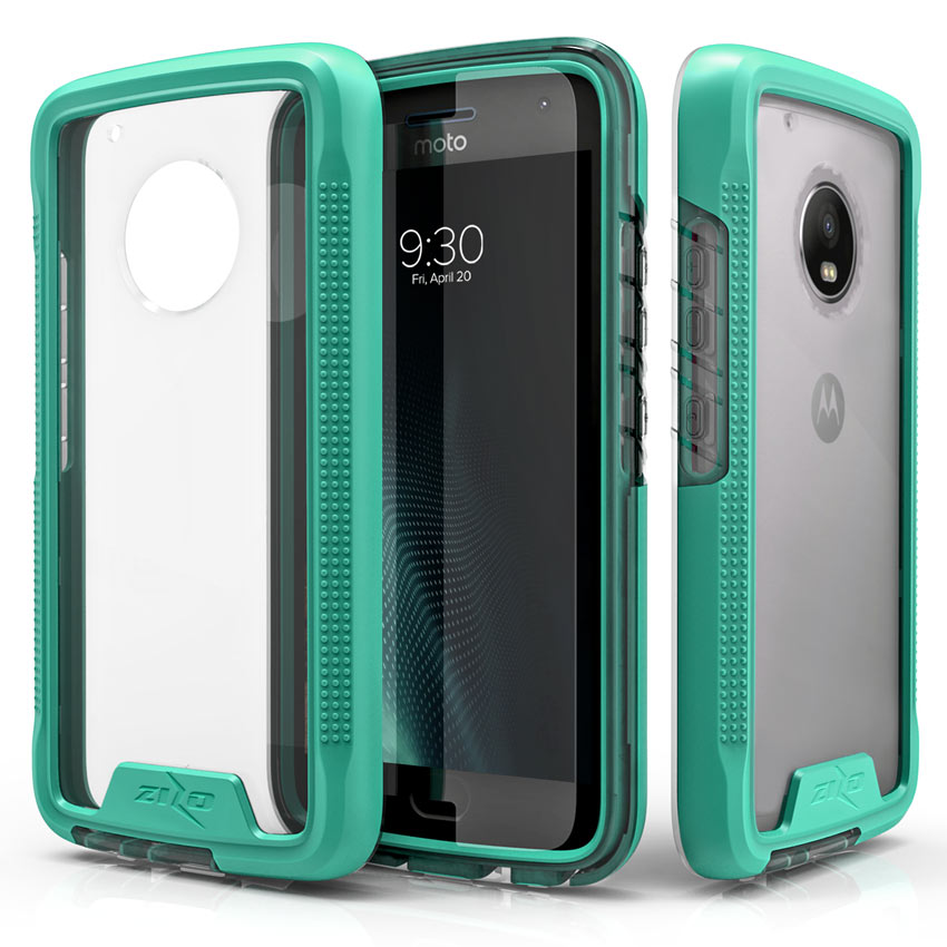 Motorola Moto G5 Plus Case, [ION] Triple Layered Shockproof Protection TPU & PC Hybrid Cover w/ Tempered Glass [Mint/ Clear]