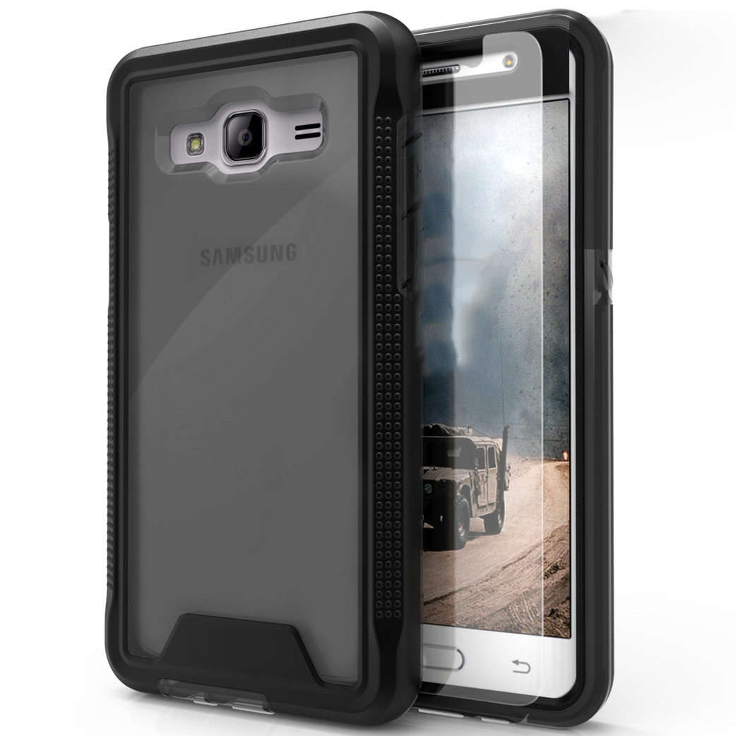 Samsung Galaxy On5 G550 Case, ION Single Layered Shockproof Protection TPU & PC Hybrid Cover w/ Tempered Glass [Black/ Smoke]