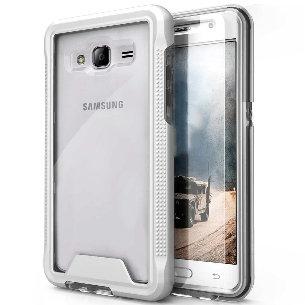 Samsung Galaxy On5 G550 Case, ION Single Layered Shockproof Protection TPU & PC Hybrid Cover w/ Tempered Glass [Silver/ Clear]