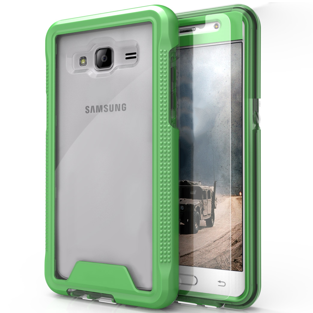 Samsung Galaxy J3/ Galaxy Amp Prime Case, ION Single Layered Shockproof Protection TPU & PC Hybrid Cover w/ Tempered Glass [Neon Green/ Clear]