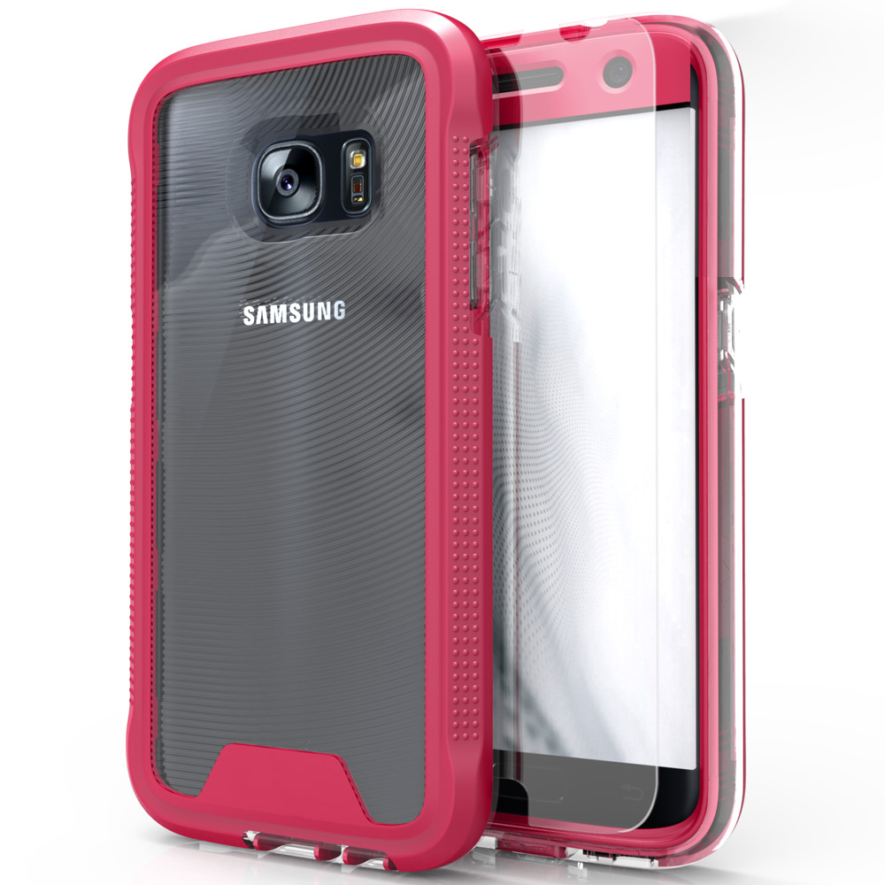 Samsung Galaxy S7 Case, ION Single Layered Shockproof Protection TPU & PC Hybrid Cover w/ Tempered Glass [Hot Pink/ Clear]