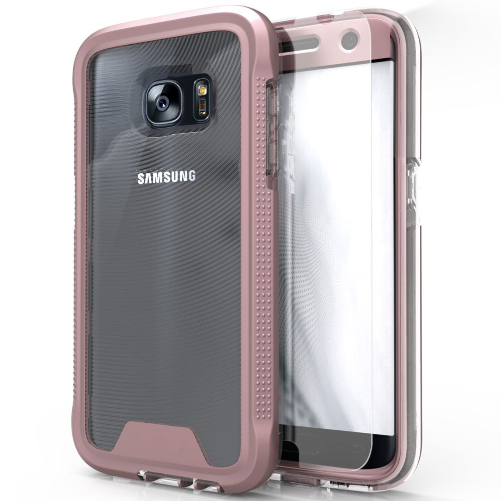 Samsung Galaxy S7 Case, ION Single Layered Shockproof Protection TPU & PC Hybrid Cover w/ Tempered Glass [Rose Gold/ Clear]