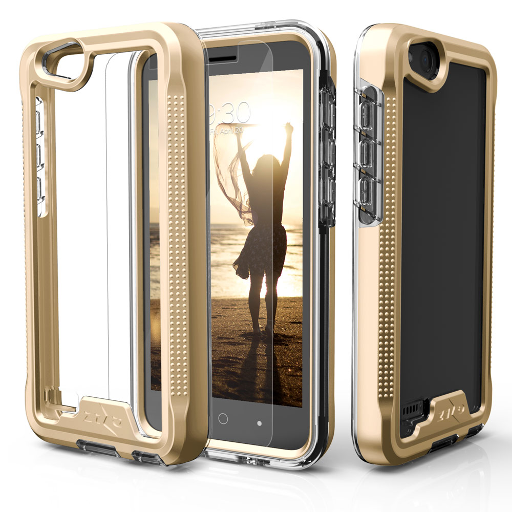 ZTE Tempo X/ Avid 4 Case, ION Triple Layered Shockproof Protection TPU & PC Hybrid Cover w/ Tempered Glass [Gold/ Clear]