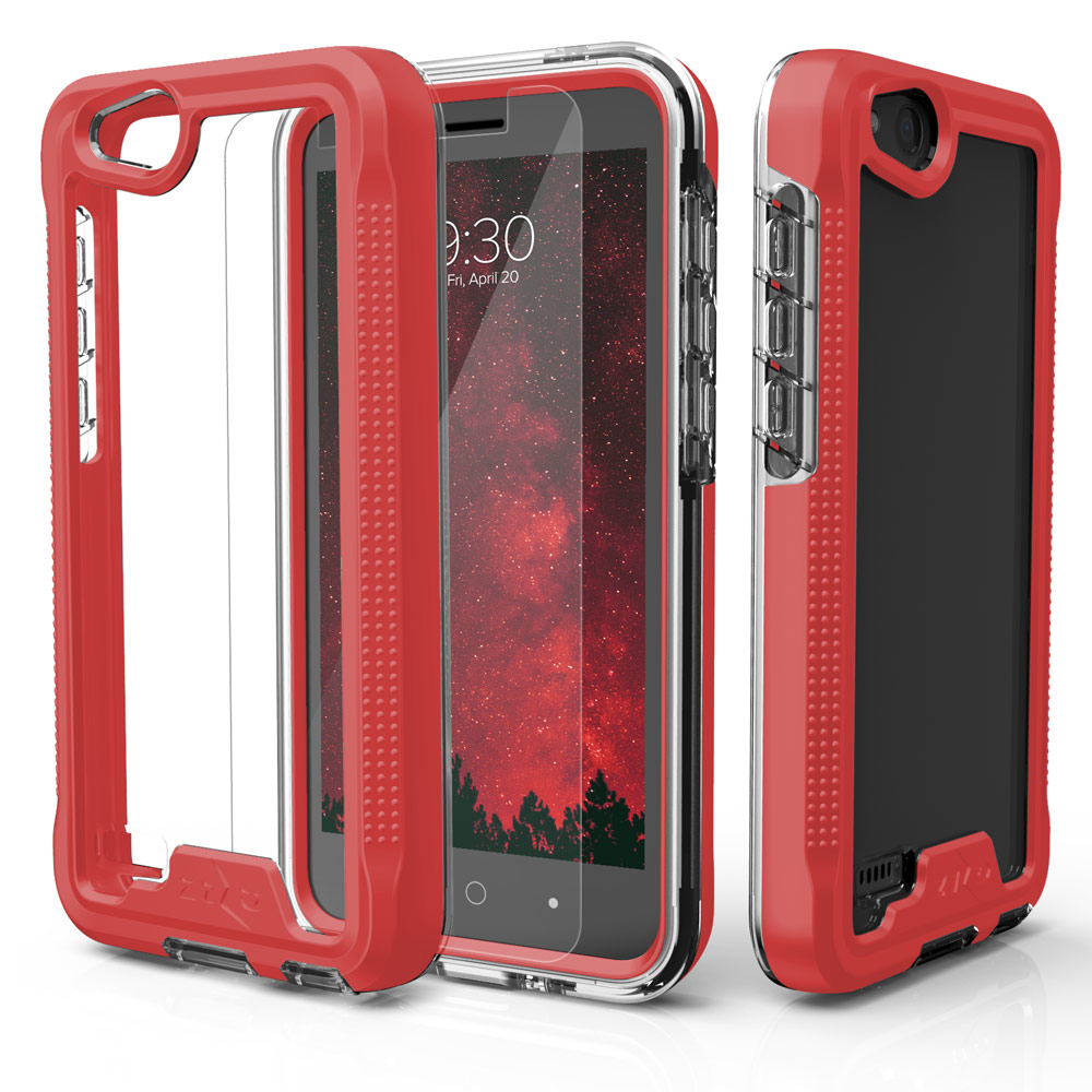ZTE Tempo X/ Avid 4 Case, ION Triple Layered Shockproof Protection TPU & PC Hybrid Cover w/ Tempered Glass [Red/ Clear]