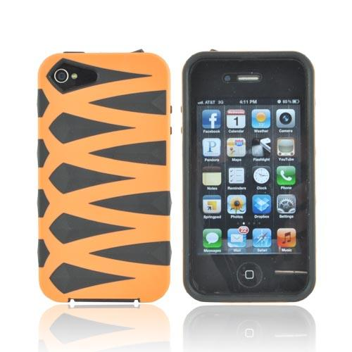 AT&T/ Verizon Apple iPhone 4, iPhone 4S Fusion Candy Case - Orange/ Black