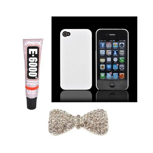 Apple iPhone 4/4S DIY Essential Bundle w/ Glossy White Ultra Slim Hard Case, Silver Bling Bow, & E-6000 Glue
