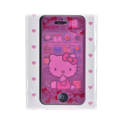 Officially Licensed Sanrio Hello Kitty At&t;/ Verizon Apple Iphone 4, Iphone 4s Mail Block 4 Way Privacy Screen Protector - Pink Hearts & Teddy Bears