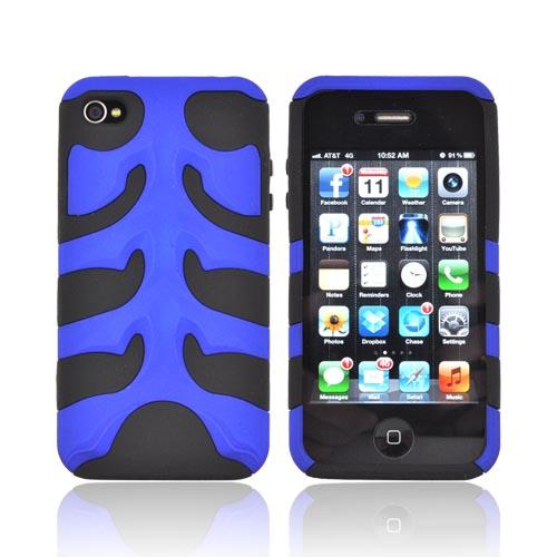 Original Nex AT&T/ Verizon Apple iPhone 4, iPhone 4S Rubberized Hard Fishbone on Silicone Case w/ Screen Protector, IP4FB06 - Blue/ Black