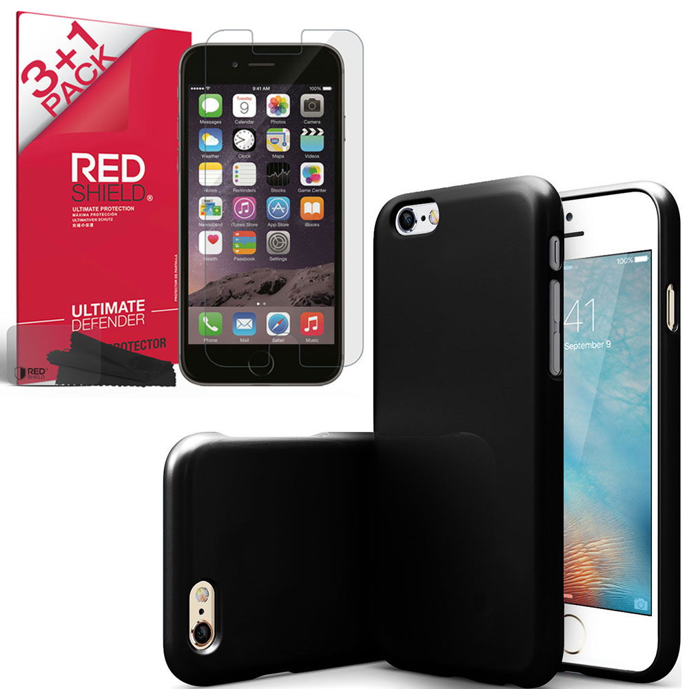 Made for [iPhone 6S Essential Bundle] Black Crystal Silicone TPU Skin Protective Cover [4pk] Crystal Clear Screen Protector Bundle For Apple iPhone 6S by Redshield