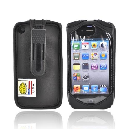 Original TurtleBack Premium Apple iPhone 4 Leather Case w/ Swivel Clip - Black