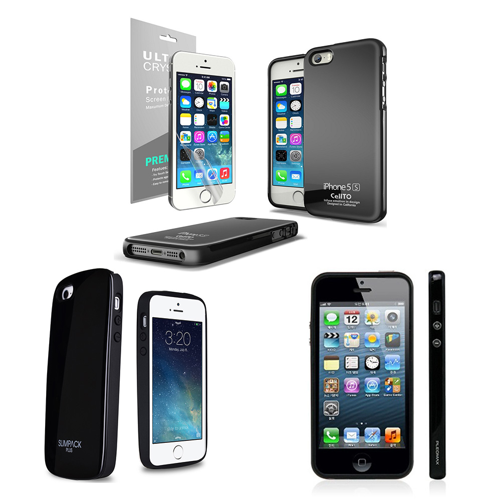 [3 Cases Combo] [Black] Apple iPhone 5/ 5S Combo w/ Premium Card Slot Case + Crystal Silicone Skin Case + Slim Bumper Case