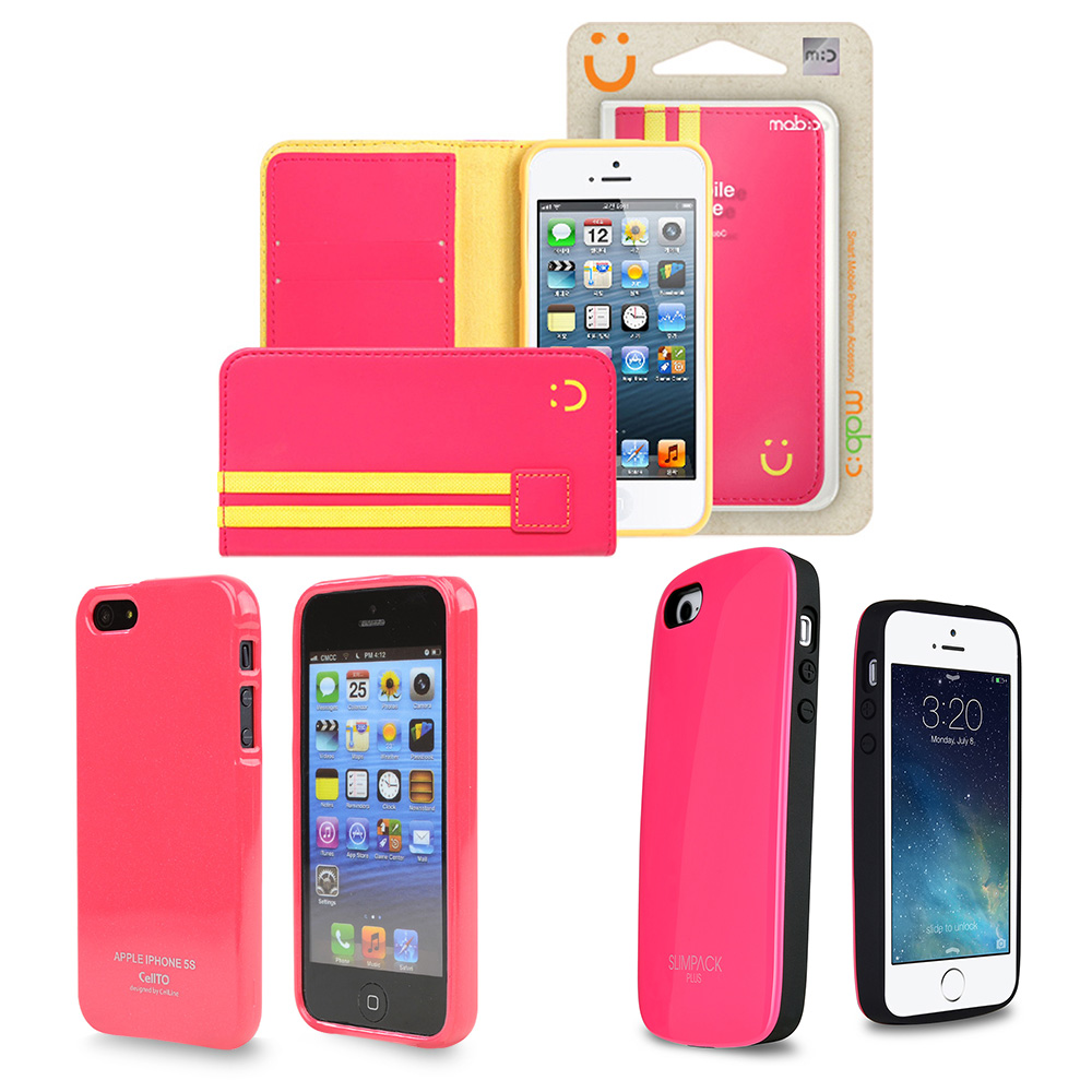 [3 Cases Combo] [Pink] Apple iPhone SE/5/ 5S Combo w/ Premium Card Slot Case + TPU Crystal Silicone Skin Case + Wallet Case