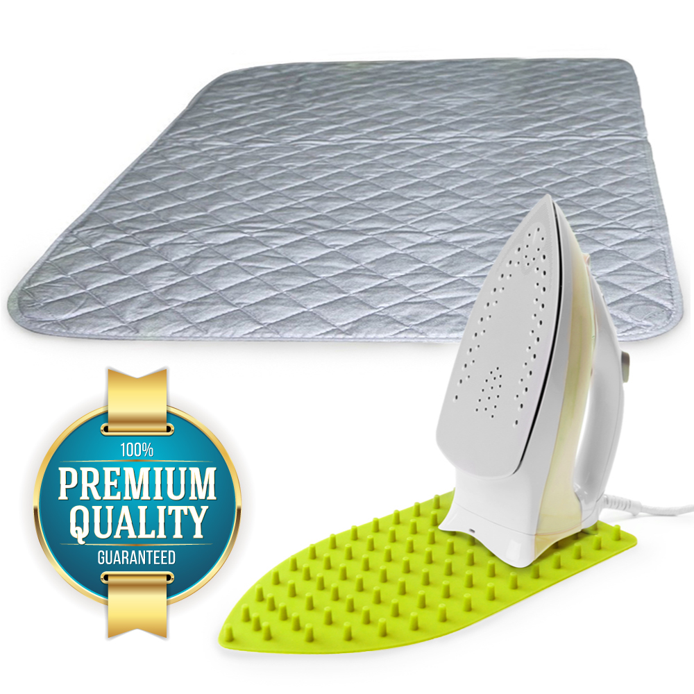 Eutuxia Ironing Blanket, Mat & Silicone Pad Combo. Alternative to Iron Board. Quilted, Breathable, Washer and Dryer Safe Heat Resistant Pad with Magnetic Corners. Use on Any Flat Metallic Surface.