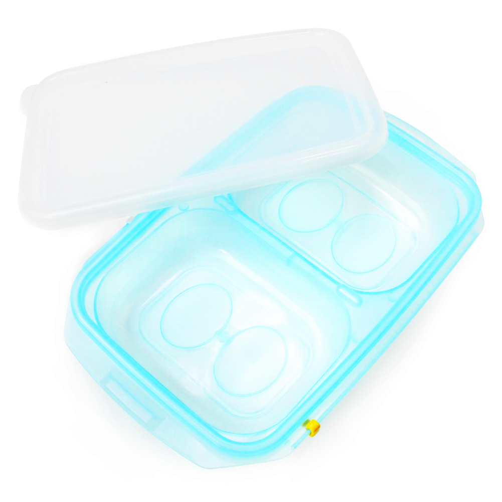 [JM Green] RRePlus Baby Food Freezer Tray [2 cell] with Date Slider. Flexible, Twistable. BPA Free. Wean Babies into Eating Solid Food. Double Sealing Lid Provided. [Baby Blue]