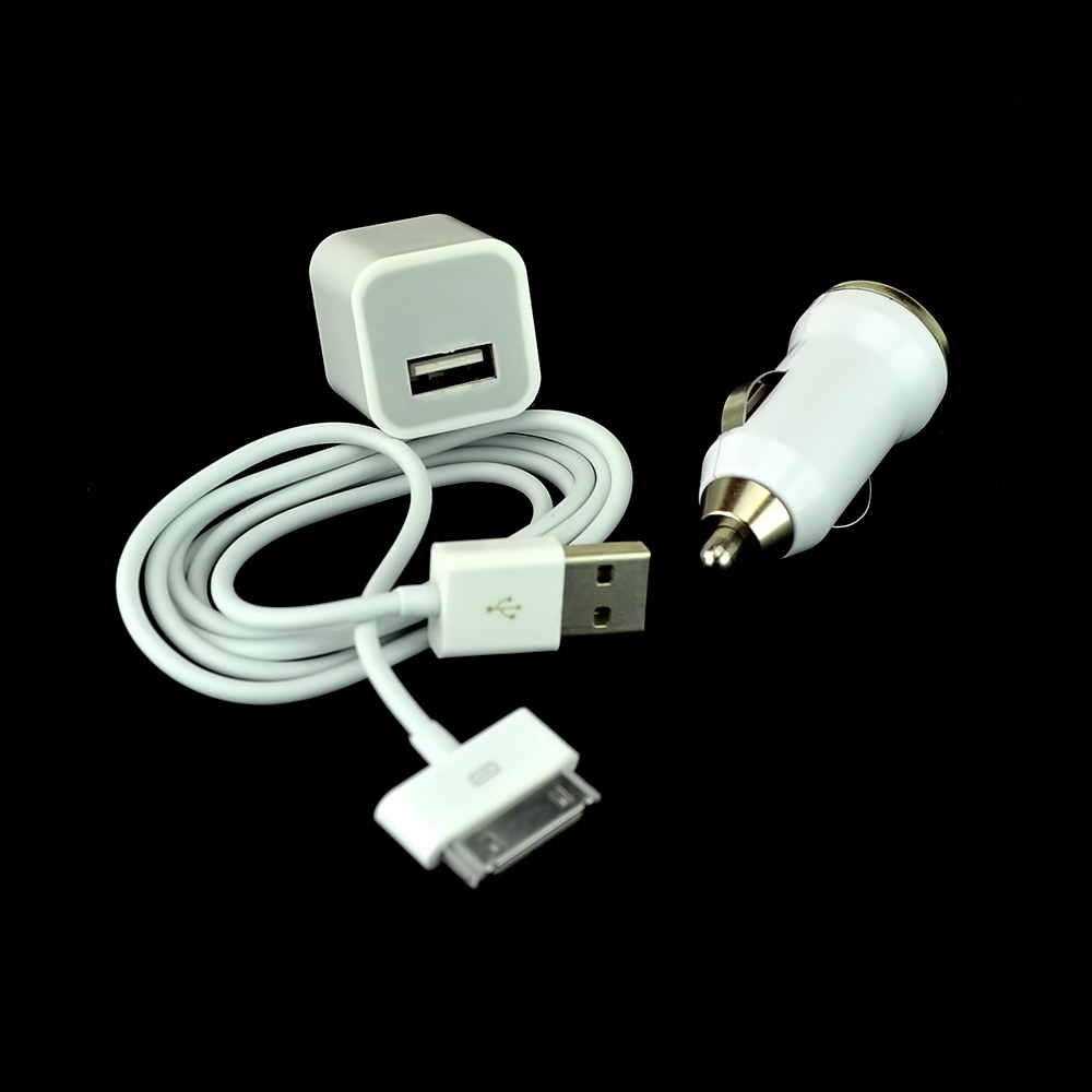 3IN1 Charger Kit for Apple iPhone (Car Charger, Travel Charger, USB Retractable Car Charger & Data Cable)
