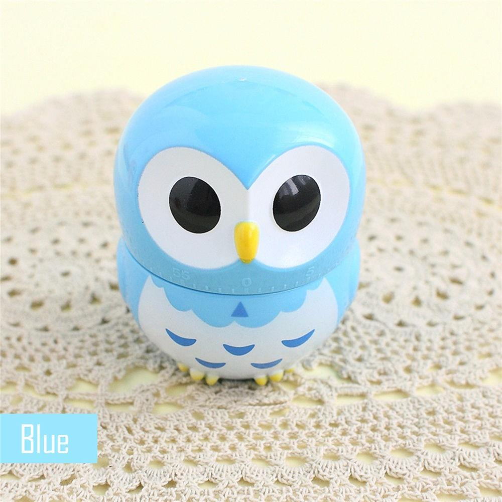 [Blue] Owl Mechanical Kitchen Timer Alarm [60 Minutes] - Makes a Great Gift!