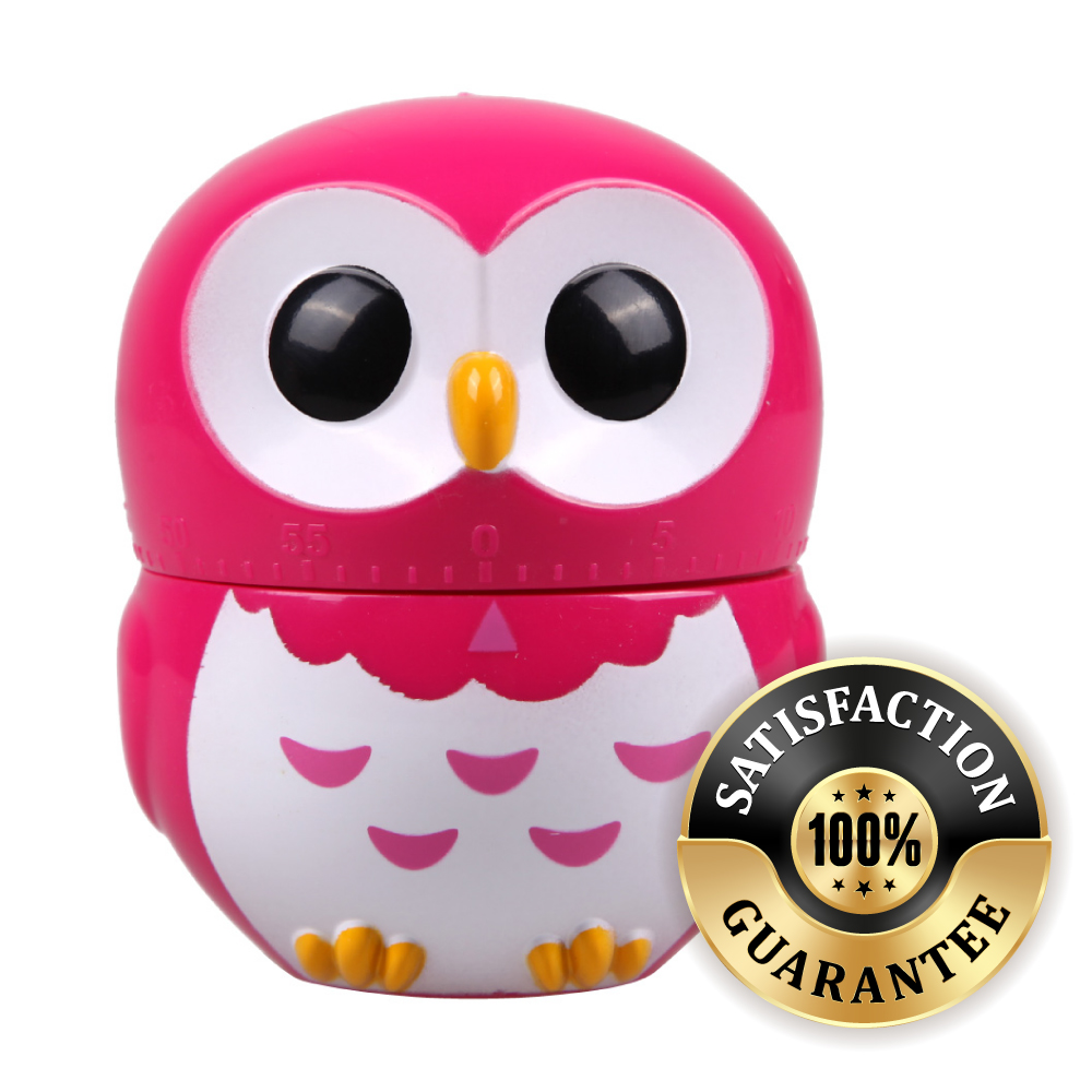 [Hot Pink] Owl Mechanical Kitchen Timer Alarm [60 Minutes] - Makes a Great Gift!