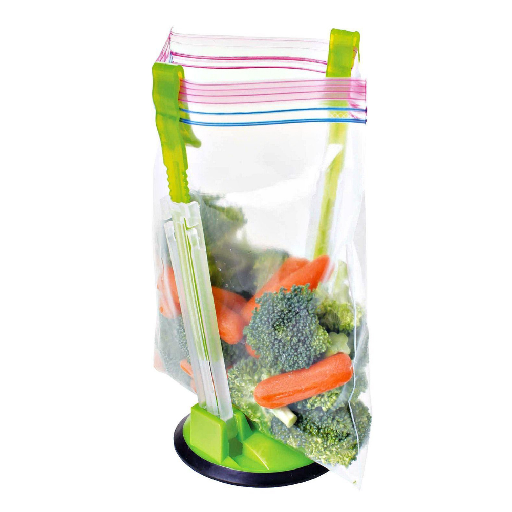 Eutuxia Hands-Free Baggy Rack. Clip Food Storage Bag on Holder for Easy Transfer of Foods & Liquids. Adjustable Arms Fit Most Bags. Hang Baggies for Simple Drying Solution. Must Have Kitchen Utensil.