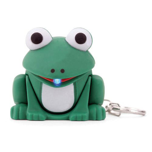 [Kikkerland] Frog LED Light Keychain w/ Sound - Ribbits & Croaks Like a Frog!