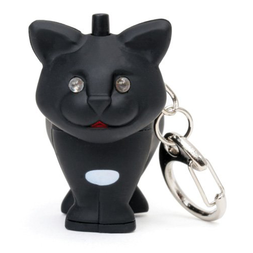 [Kikkerland] Cat LED Light Keychain w/ Sound - Meows Like a Cat!