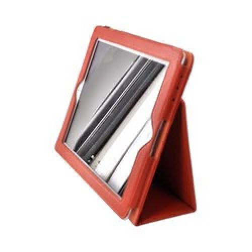 Premium Apple iPad 2/ New iPad Leather Stand Case w/ Magnetic Closure - Orange
