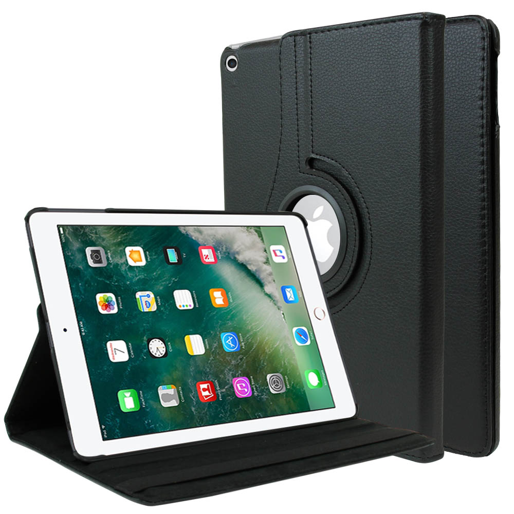 Apple iPad 9.7 inch (2017) Leather Case, [Black] Slim Protective PU Leather Tablet Hard Case w/ Stand and Rotatable Shield
