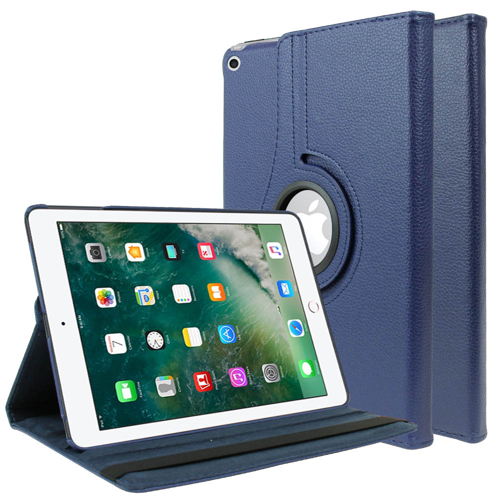 Made for Apple iPad 9.7 inch (2017) Leather Case, [Navy Blue] Slim Protective PU Leather Tablet Hard Case w/ Stand and Rotatable Shield by Redshield