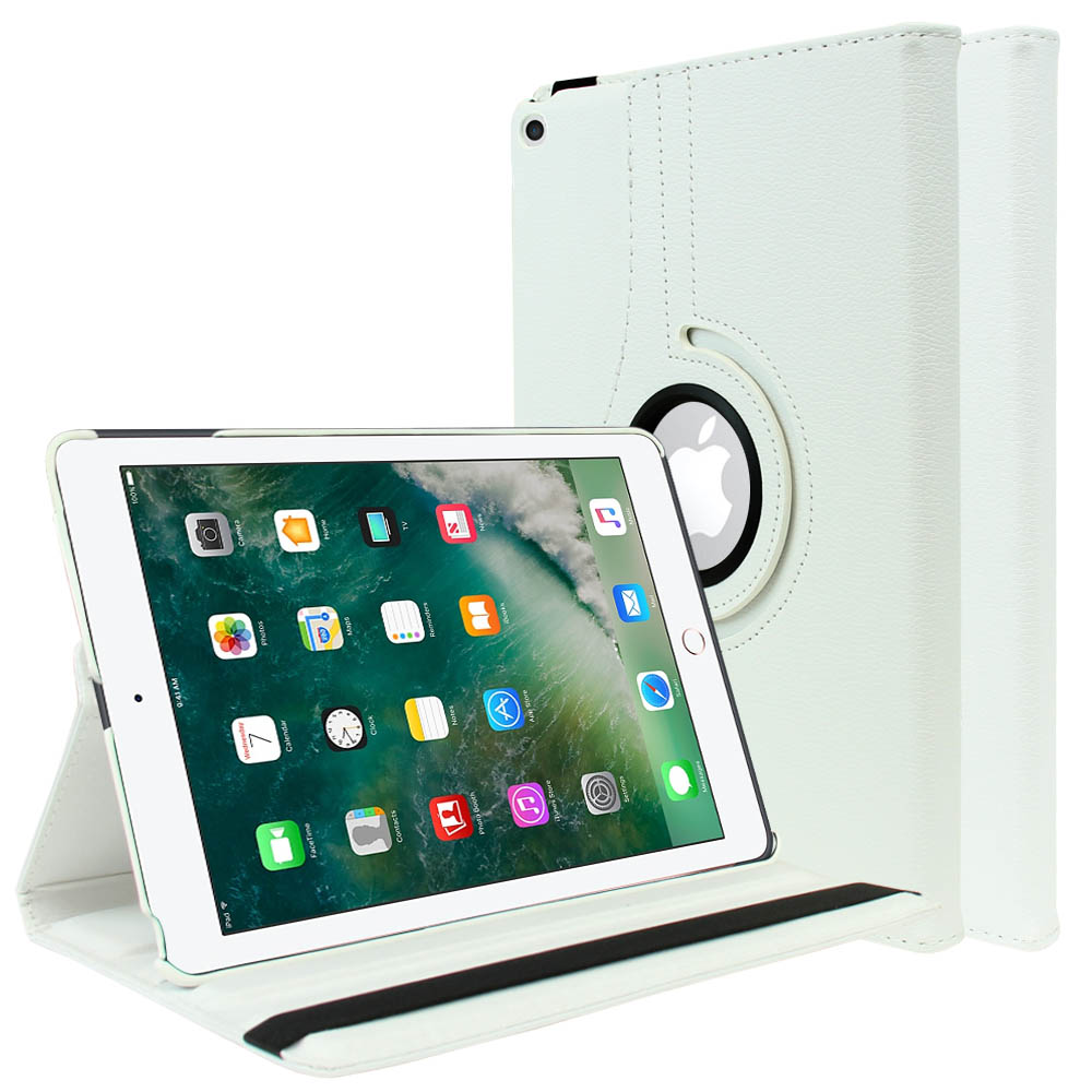 Apple iPad 9.7 inch (2017) Leather Case, [White] Slim Protective PU Leather Tablet Hard Case w/ Stand and Rotatable Shield