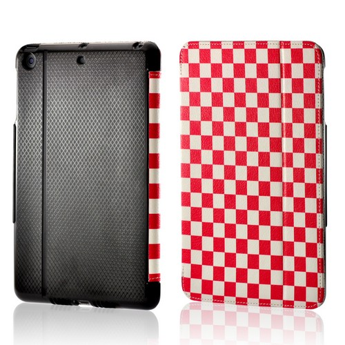Hot Pink/ White Checker Leather Case Stand w/ Hard Back for Apple iPad Mini