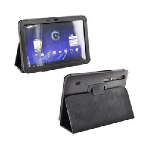 Motorola Xoom Leather Carry Case Stand w/ Magnetic Closure - Black