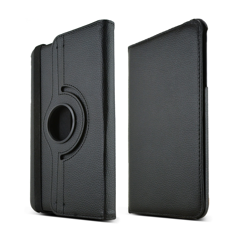 Black Samsung Galaxy Tab 4 8.0 Faux Leather Hard Case Stand w/ Rotatable Shield - Perfect Protection and Functionality!