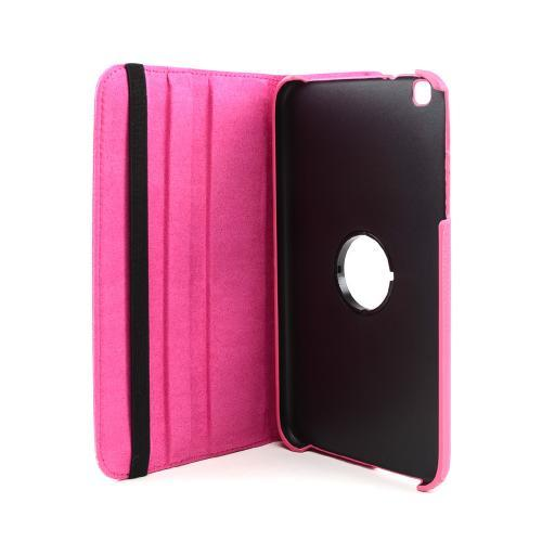 Hot Pink Faux Leather Case Stand w/ Rotatable Shield for Samsung Galaxy Tab 3 8.0
